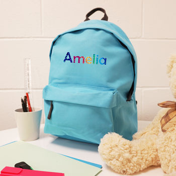 Rainbow Name Personalised Back Pack