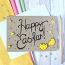 Happy Easter Card, Hand Lettered Card With Easter Eggs
