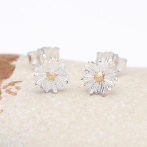 18ct Gold And Sterling Silver Birth Flower Earrings