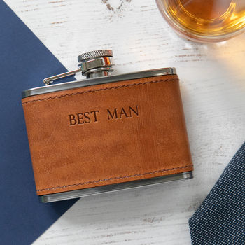 Best Man Leather Hip Flask
