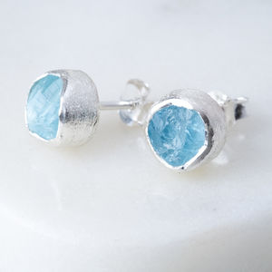 Rough Aquamarine Silver Stud March Birthstone - birthstone jewellery gifts