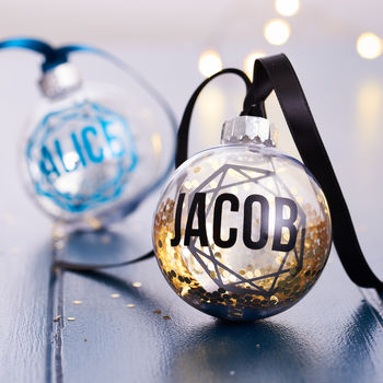 Personalised Geometric Glitter Bauble