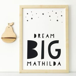 Personalised Dream Big Nursery Print - dreamland nursery