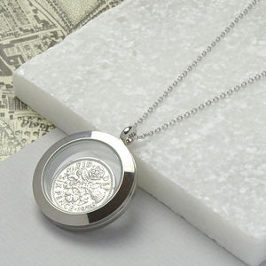 Dates 1928 To 1967 Sixpence Glass Locket Necklace - necklaces & pendants