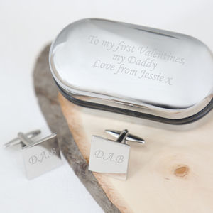 Engraved Valentine's Cufflinks And Box - personalised jewellery