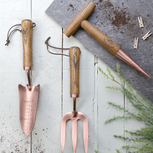Garden Tools In Wood And Copper
