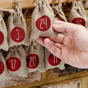 Christmas Advent Calendar Tree Hanging Sacks X 24
