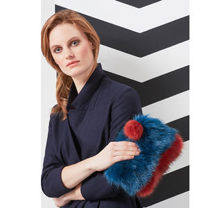Faux Fur Pom Pom Clutch Bag