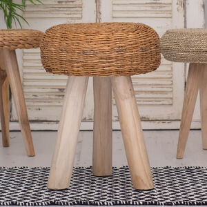 Wooden Stool With Wicker Seat