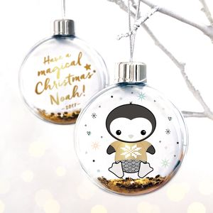 Personalised Magical Christmas Penguin Bauble - christmas decorations