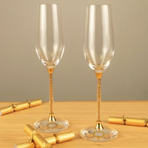 Pair Of Champagne Flutes With Gold Swarovski Crystals - table decorations