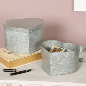 Set Of Two Zinc Heart Keepsake Boxes - tins, jars & bottles