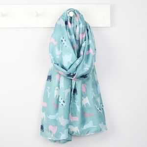 Illustrated Dog Print Scarf - summer sale