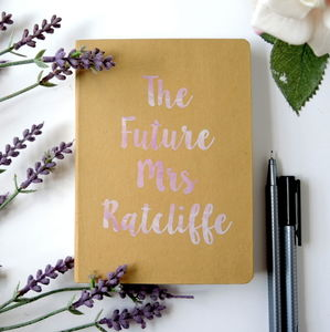 Personalised Future Mrs Wedding Engagement Notebook - planning & organising