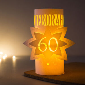 60th Personalised Birthday Star Lantern Centrepiece