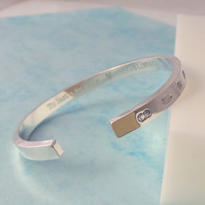 Mens Heavyweight Sterling Silver Engraved Bangle - bracelets