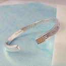 Mens Heavyweight Sterling Silver Engraved Bangle