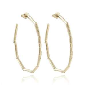 Hoop Sterling Silver Twig Earrings