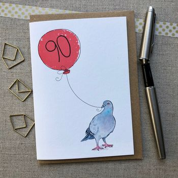 Personalised 90th Birthday Pigeon Card
