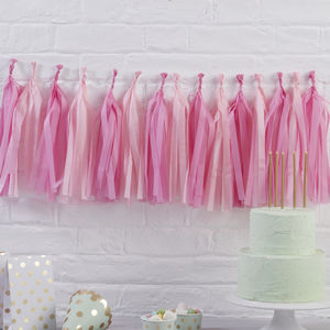 Pink Tissue Diy Tassel Garland Party Decoration - bunting & garlands
