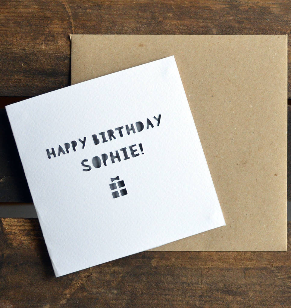 Paper Cut Handmade Personalised Happy Birthday Card By Laura M