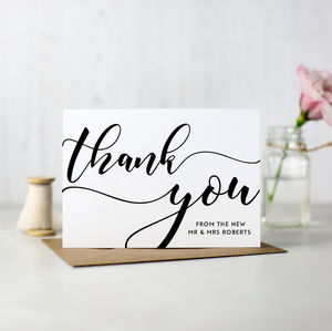 Pack Of 10 Personalised Wedding Thank You Cards - wedding stationery