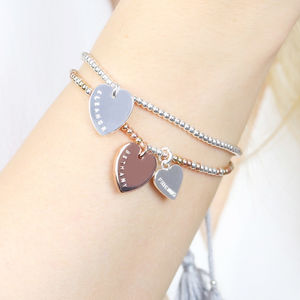 Personalised Double Heart Dainty Links Bracelet - shop by recipient