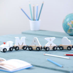 Wooden White Name Train - gifts for babies