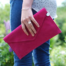Personalised Suede Leather Envelope Clutch Bag