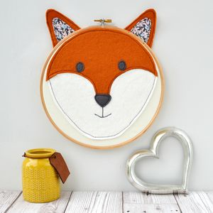 Handmade Fox Head Embroidery Hoop - animals & wildlife