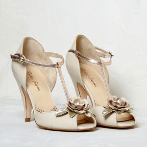 Gabriella Blush Ivory Leather T Bar Sandal - bridal shoes