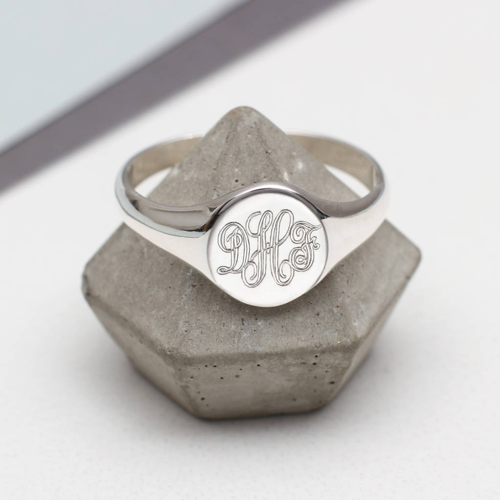 silver signet round ring s en fashionology sterling