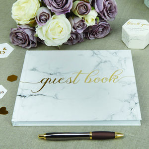 Wedding Guest Book With Gold Foil - summer sale