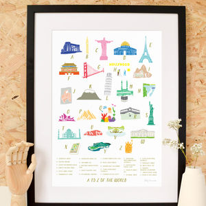 A Z Of The World Landmarks Art Print - drawings & illustrations