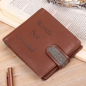 Personalised English Tweed And Leather Gentlemen Wallet - winter sale