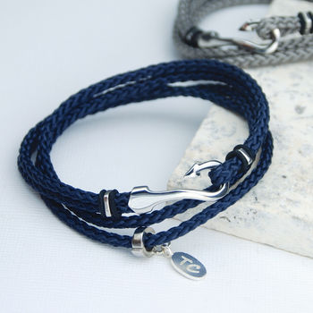 Personalised Men's Double Wrap Hook Bracelet - navy with optional disc