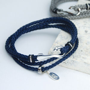 Personalised Men's Double Wrap Hook Bracelet