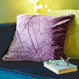 Velvet Personalised Map Cushion - sale