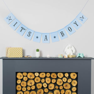 Personalised Baby Boy Baby Shower Bunting - bunting & garlands