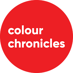 Colour Chronicles Logo - white writing on red background