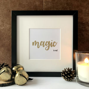 'Magic Is Real' Framed Embellished Print - christmas posters & prints