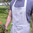 Personalised Embroidered Monogram Linen Apron