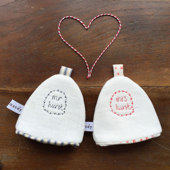 'Mr' & 'Mrs' Egg Cosies - Custom Embroidery