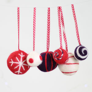 Christmas Baubles Needle Felting Kit Red And Purple - creative kits & experiences