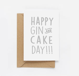 'Happy Gin And Cake' Birthday Card - birthday cards