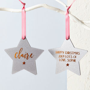 Foiled Glitter Star Christmas Decoration - tree decorations