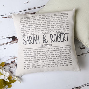 Personalised Song Lyrics Cushion Cover - 4th anniversary: linen