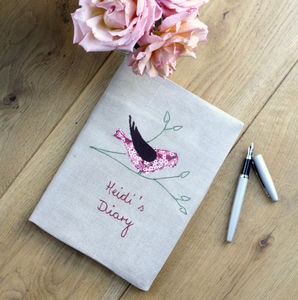 Personalised Embroidered Notebook Bird