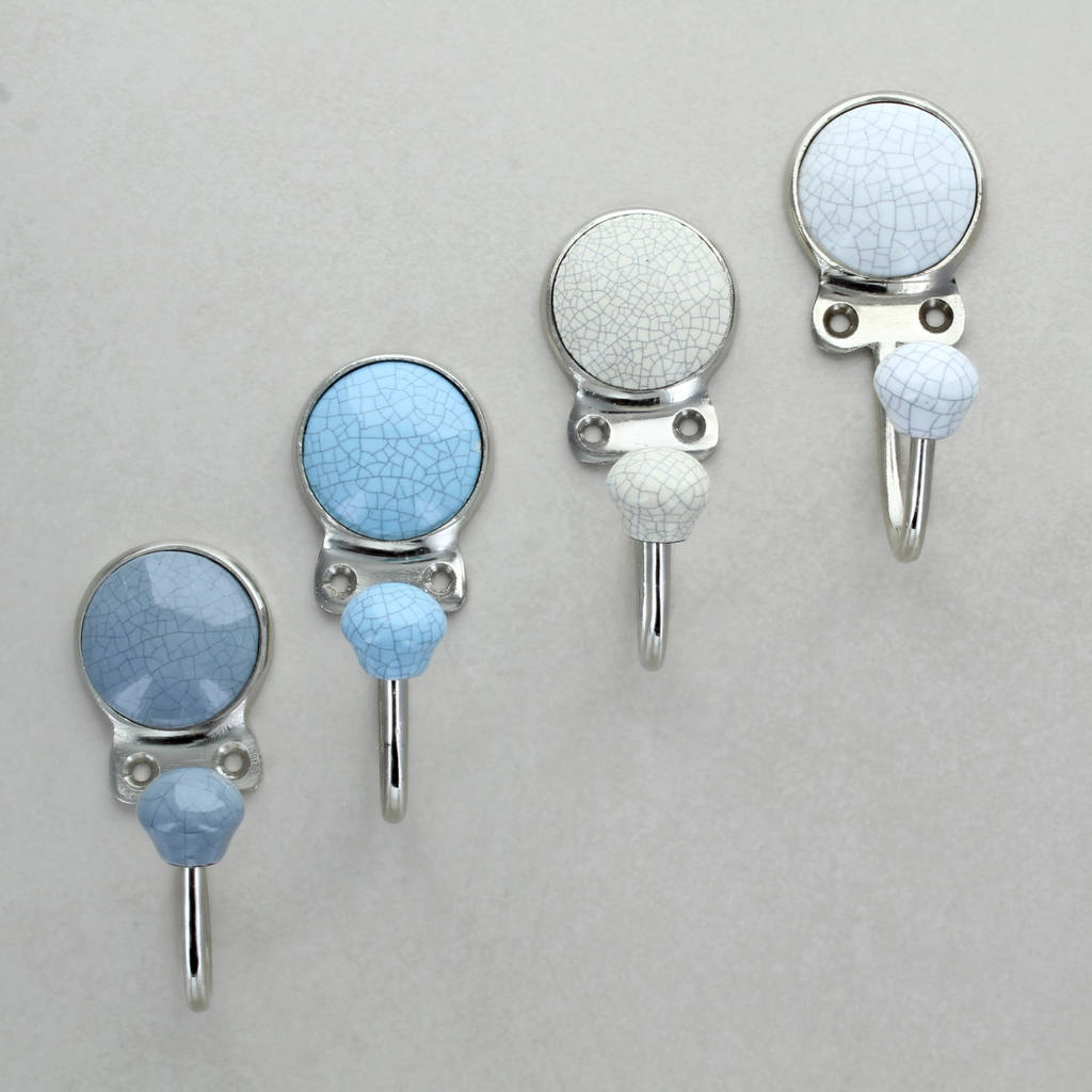 Crackle Ceramic Keys Wall Rack Coat And Hat Hooks