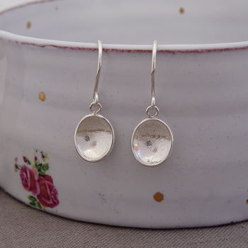 Handmade Silver Pebble Drop Earrings